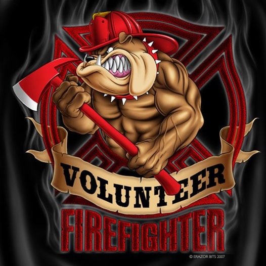 Volunteer Firefighter Dog Patriotic Logo T-Shirt ...