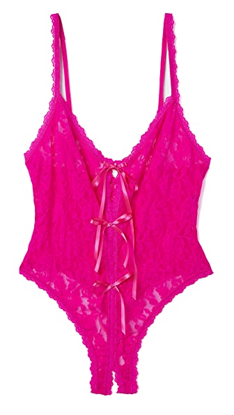 Hanky Panky After Midnight Open Panel Keyhole Teddy - Tulip Pink