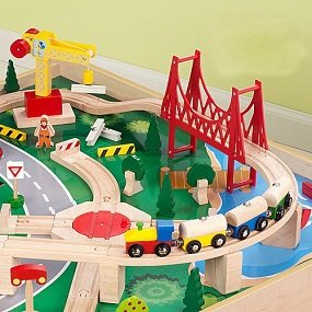 Solid wood train track.