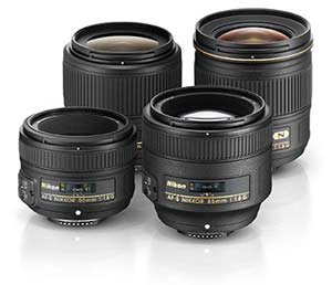 Nikon photo of the full line of f/1.8 NIKKOR FX lenses, 28mm, 35mm, 50mm and 85mm.