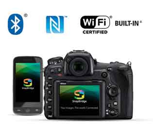 Nikon D500 DSLR rear of the camera and smartphone with the Snapbridge app logo showcasing connectivity