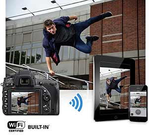 Nikon D750 photo of a parkour athlete, inset with the image on the LCD, a smartphone and tablet highlighting Wi-Fi connectivity