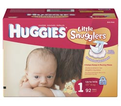 HUGGIES Little Snugglers Diapers, Size 1, 92-Count Product Shot