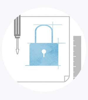 An illustration of a lock and other security related items.