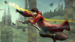 Harry during a quidditch match in 'Harry Potter and the Half-Blood Prince' the Video Game