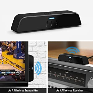 Auris beamit Wireless Bluetooth Audio Transmitter and Receiver, 2-in-1  Wireless Audio Adapter for TV / Hi-Fi Sound System with Digital Optical