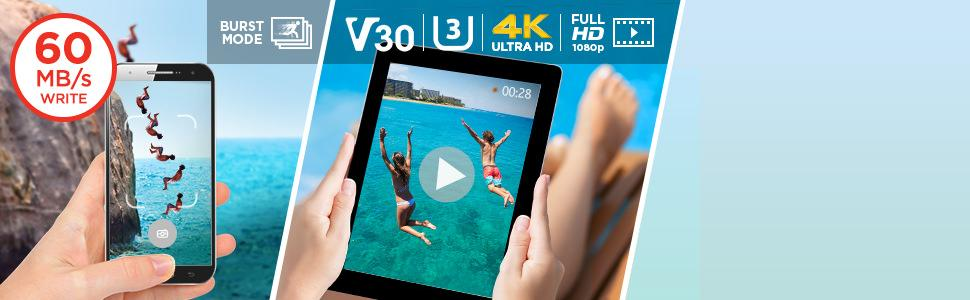 Burst-Modus und 4K Ultra HD Video - SanDisk Extreme 64 GB microSDXC