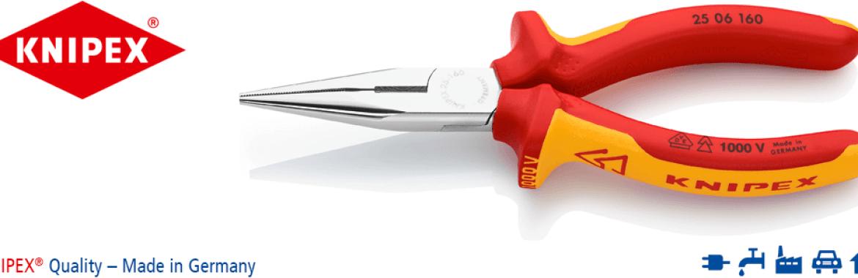 Knipex 25 06 160 Flachrundzange mit Schneide – Radiozange, VDE-geprüft