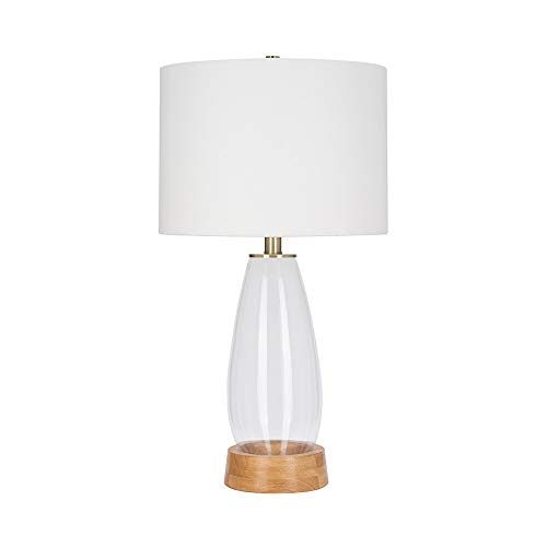 Catalina-Lighting-21382-001-Mid-Century-Modern-Smooth-Clear-Glass-Table-Lamp-with-Real-Wood-Base-3025-Oak-Brown
