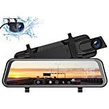 TOGUARD Backup Camera 10' Mirror Dash Cam, Dash Cam Front and Rear Full Touch Screen Video Streaming Rear View Mirror Camera,Night Vision Waterproof 1080P Rear Camera