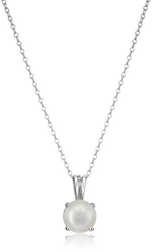 "Amazon Essentials Sterling Silver Round Cut Genuine Pearl Birthstone Pendant Necklace (June), 18"""