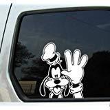 Goofy Waving Peeking White 6' Car Truck VINYL Decal Art Wall Sticker Disney Mickey USA Kids Fun Disney