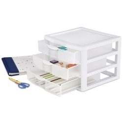 """Sterilite 3-Drawer Organizer - ClearView Wide 2093 (White / Clear) (10.25""""H x 14.5""""W x 14.25""""D)"""