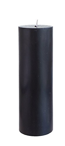 "Mega Candles - Unscented 3"" x 9"" Hand Poured Round Premium Pillar Candle - Black"
