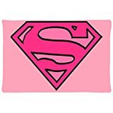 Supergirl Pink Logo Personality Custom Home Decorative Pillow Cover Zippered Pillowcase (20x30 inch) Haitaowong Design