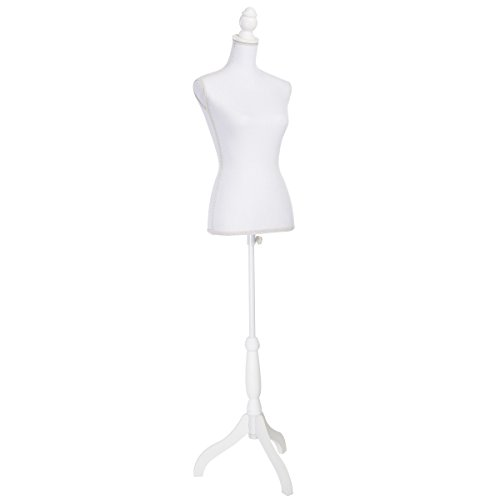 Giantex Female Mannequin Torso Body Dress Form with White Adjustable Tripod Stand, 51.2''-66.2'' Adjustable Height Non-Straight Pinnable for Pants Clothing Dress Jewelry Display (White)