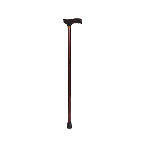 DMI Lightweight Aluminum Adjustable Walking Cane with Derby-Top Handle for Men and Women, Woodgrain