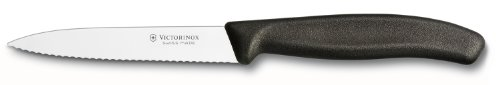 Victorinox 6.7733US1 4 Inch Swiss Classic Paring Knife with Serrated Edge, Spear Point, Black, 4'