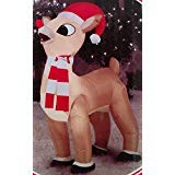 Gemmy Airblown Inflatable Rudolph Standing Wearing Red/White Striped Scarf and a Santa Hat - Holiday Yard Decorations, 3.5 Feet Tall