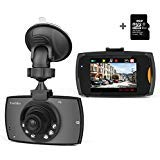 Trochilus Dash Cam Full 2.4 'Screen HD 720P with IR night vision lights ,120°Wide Angle Lens Car DVR Camera,with Loop Recording,8 GB micro SD card included