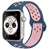 AdMaster Compatible for Apple Watch Bands 38mm 40mm,Soft Silicone Replacement Wristband Compatible for iWatch Apple Watch Series 1/2/3/4 - S/M Midnight blue/Vintage rose