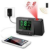 SMARTRO Digital Projection Alarm Clock with Weather Station, Indoor Outdoor Thermometer, USB Charger, Dual Alarm Clocks for Bedrooms, AC & Battery Operated