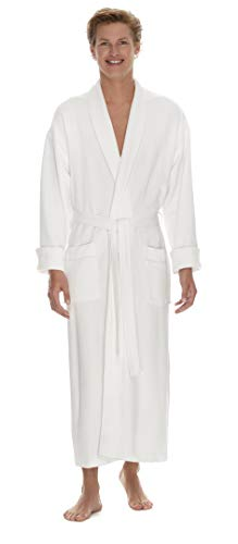 Boca Terry Mens Robe - Super Soft & Plush Long Robe for Men - Diamond Knit Waffle - XXXXL White