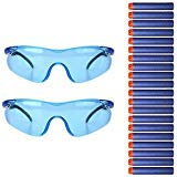 Chosky 2pcs Kids Outdoor Games Safety Glasses Protective Goggles + 20pcs Refill Bullet Darts for Nerf Gun Toy N-strike Elite Series