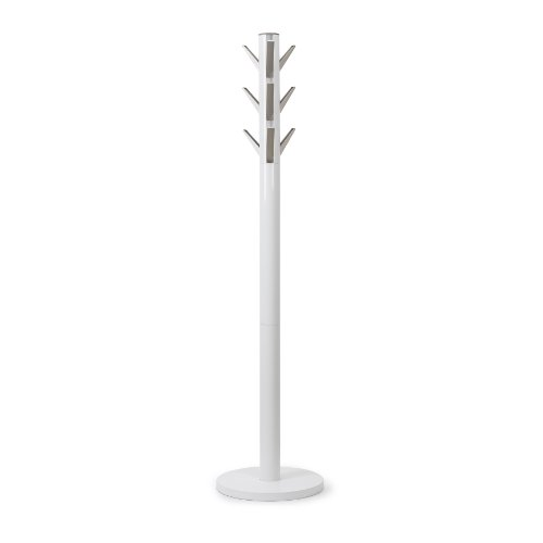 Umbra Flapper Coat Rack, Clothing Hanger, Umbrella Holder, and Hat Organizer, Great for Entryway, White/Nickel