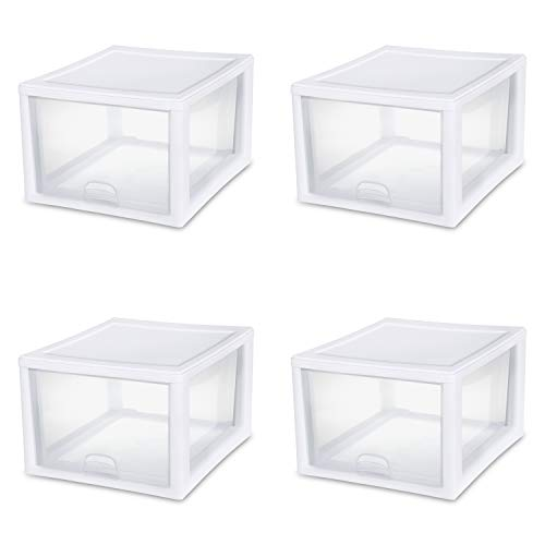 Sterilite 23108004 27 Quart/26 Liter Stacking Drawer, White Frame with Clear Drawers, 4-Pack