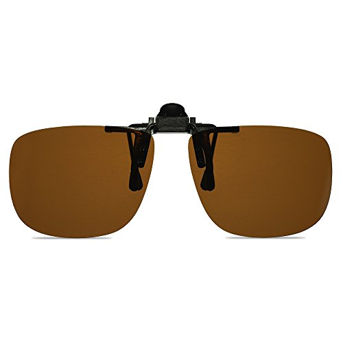Wangly Polarized Unisex Clip On Flip Up Sunglasses Over Prescription And Reading Glasses Frames Suitable For Driving, Brown lens