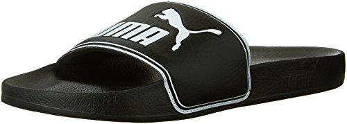 PUMA Men's Leadcat Slide Sandal, Black/White, 11 M US