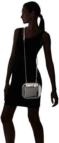 This patent faux leather crossbody bag catches the eye with a beveled hard shell and a metallic chain Zip closure, interior center divide zip pocket This bag fits a smart phone, lipstick, compact, and cards