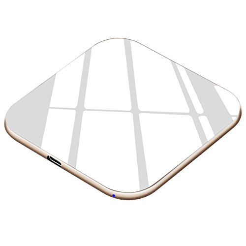 Te-Rich Qi Wireless Charger, 7.5W Wireless Charging Pad [Ultra Slim,15W] Compatible iPhone Xs MAX/XR/XS/X/8/8 Plus, 10W Fast Charging Compatible Samsung Galaxy S10/S9/S9+/S8/S8+/Note 9/8-No AC Adapter