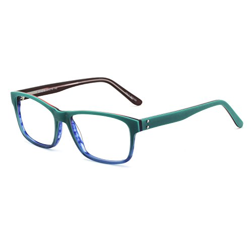 OCCI CHIARI Womens Rectangle Stylish Imitation Wood Grain Optical Eyewear Frame With Non-Prescription Clear Lens (Green/Blue)