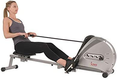 Sunny Health & Fitness Rowing Machine Rower Ergometer with Digital Monitor, Inclined Slide Rail, 220 LB Max Weight and Foldable – SF-RW5606