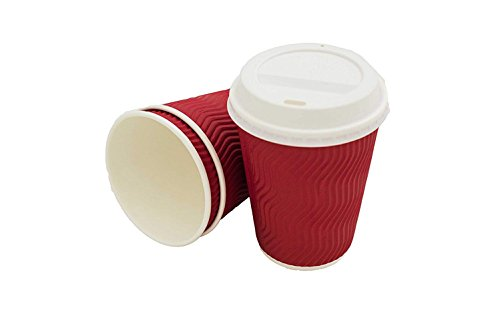 Hecentur 6PCS Disposable Coffee Cups with Lids Durable 12 oz to Go Coffee Cups with Tight Resealable Lids Prevent Leaks, Eco-Friendly Recyclable Paper, Wholesale Takeout Coffee Cup (red)