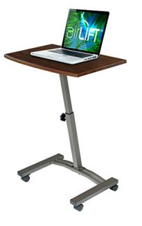 Seville Classics WEB162 Mobile Laptop Computer Desk Cart Height-Adjustable from 20.5' to 33' Slim Walnut