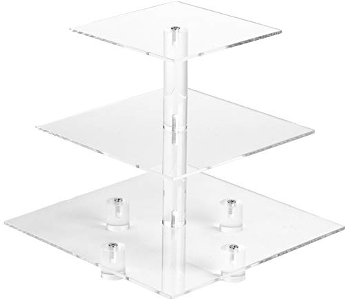 YestBuy 3 Tier Maypole Square Wedding Party Tree Tower Acrylic Cupcake Display Stand (3 Tier (10cm gap) with Base) ¡