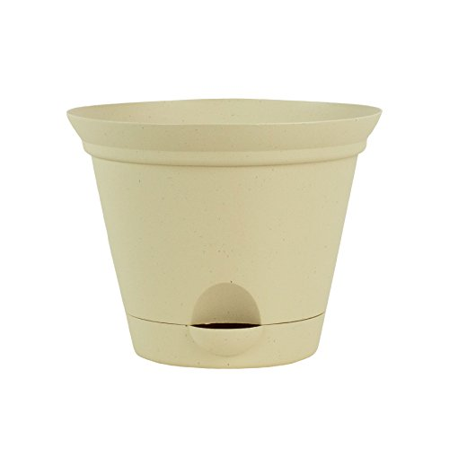 3 Pack 11.5 Inch Latte Quartz Plastic Self Watering Flare Flower Pot or Garden Planter