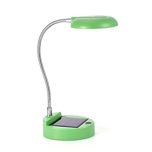 WONFAST Portable Flexible Gooseneck 8-LED Mini Rechargeable Solar Lights Indoor Reading Book PC Lighting Table Lamp (Green)