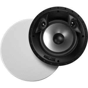 Polk Audio 80F/X-RT in-Ceiling 2-Way Round Surround Speakers - 8' Woofer, Dual 3/4' Tweeters   100 Watts   The Vanishing Series Recesses into The Ceiling   Paintable Sheer Grille   White, Pair