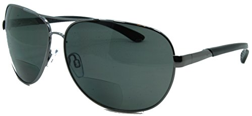 In Style Eyes C Moore Polarized Aviator Nearly Invisible Line Bifocal Sunglasses/Pewter/1.50 Strength