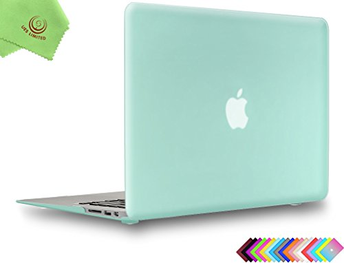 UESWILL Smooth Soft-Touch Matte Hard Shell Case Cover for 2008-2017 MacBook Air 13 inch (Model A1466 / A1369) + Microfibre Cleaning Cloth, Green