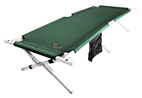 BYER OF MAINE, Military Cot, Folding Cot, Reinforced Aluminum/Steel Frame, Extra Large Size, Holds 375lbs