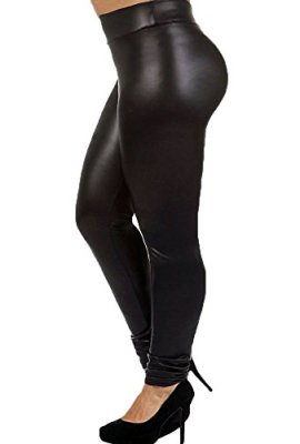 7th Element Plus Size Faux Leather Leggings Lightweight High Waisted for Womens  Girls 2ab6f068b341