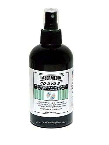 Lasermedia CD-DVD-8 Compact Disc/CDR and DVD-DVD-R Cleaner 8 Ounce Spray Bottle