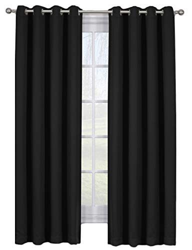 Set of 2 Blackout Panels -AVA- Solid Black (108' Wide x 96' Long) Triple Weave, Grommet Top Window Curtains with Tie Backs