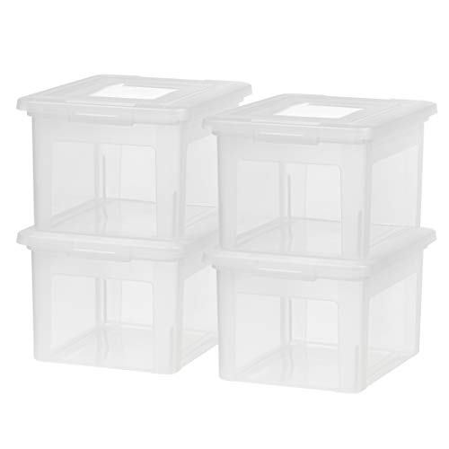 IRIS USA, Inc. FB-21EE Letter and Legal Size File Box, Medium, Clear, 4 Pack