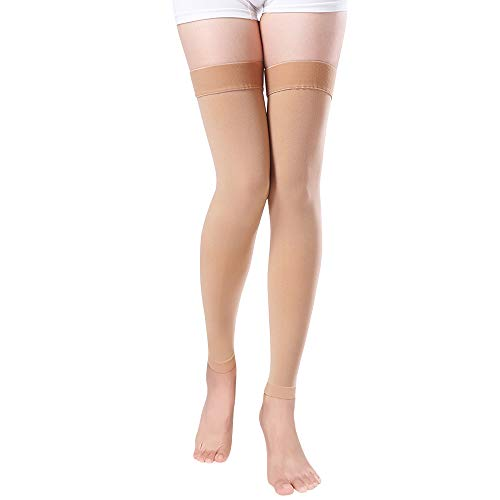 Footless Compression Stockings Women Men, Thigh-High Firm Support 20-30 mmHg Graduated Compression Socks - Moderate Medical Support Hose Swelling Varicose Veins Edema (Beige, X-Large)